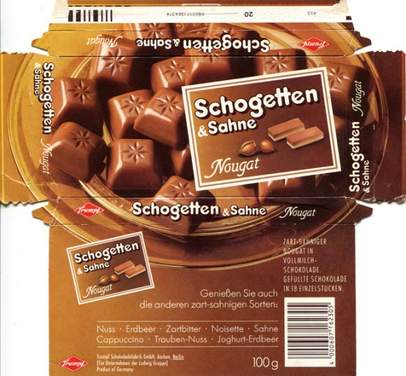 Schogetten & Sahne, filled milk chocolate with nougat cream, 100g, Trumpf Schokoladenfabrik GmbH, Berlin, Germany