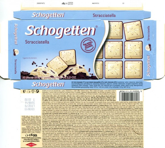 Schogetten, white chocolate with roasted cocoa nib, dark chocolate, 100g, 05.06.2013, Trumpf, Ludwig Schokolade GmbH & Co. KG, Saarlouis, Germany