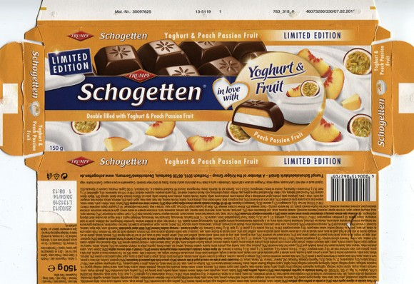 Schogetten, doubled filled with yoghurt and peach passion fruit, 150g, 25.03.2013, Trumpf Schokoladefabrik GmbH, Saarlouis, Germany