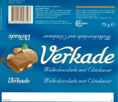 Milk chocolate with raisins and nuts, 75g, Verkade Consumentenservice, Amsterdam, Netherlands