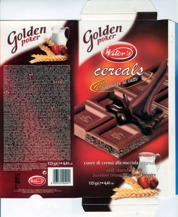Golden poker, extra fine milk chocolate with hazelnut cream filling and crispies, 125g, 31.12.2005, Witors, Corte de Frati, Cremona, Italy