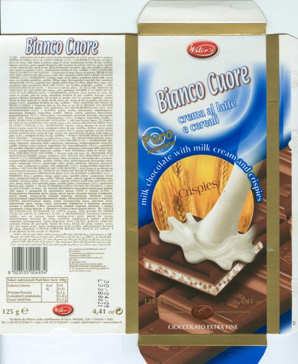 Bianco Cuore crema al latte e cereali, extra fine milk chocolate bar with milk cream and crispies, 125g, 30.04.2008, Witors, Gorizia, Italy