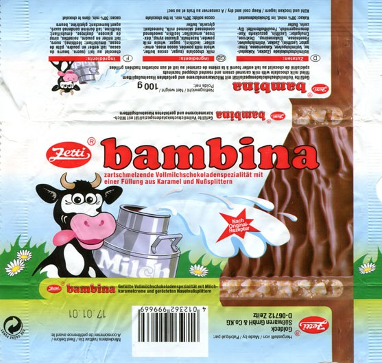 Bambina, filed milk chocolate with milk caramel cream and roasted chopped hazelnuts, 100g, 17.01.2000, Zetti, Made by Goldeck Susswaren GmbH & Co.KG, Zeitz, Germany
