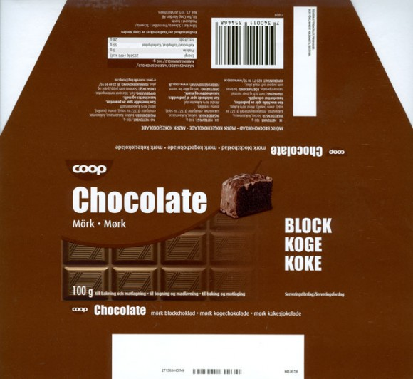Dark chocolate, 100g, Made in Switzerland for Coop Norden AB, Stokholm