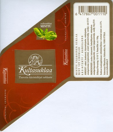 White chocolate with mint, handmade chocolate, 100g, 2006, Kultasuklaa Oy, Iittala,  Finland