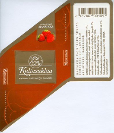 White chocolate with strawberry, handmade chocolate, 100g, 2006, Kultasuklaa Oy, Iittala,  Finland
